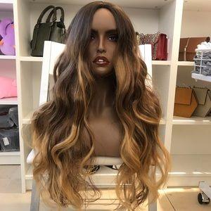 Human hair blend brown/blonde wig